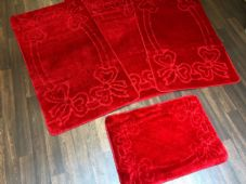 ROMANY TOURER SIZE MATS TRAVELLER SET NON SLIP SUPER THICK RED WASHABLES RUGS